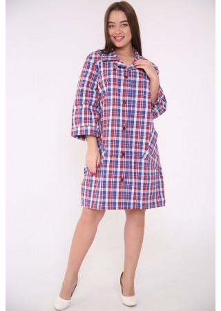 Рубашка-халат жен. М-75Шотландка (44-62)