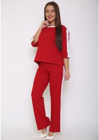 Костюм с брюками  Р0560(красный) (42-52)